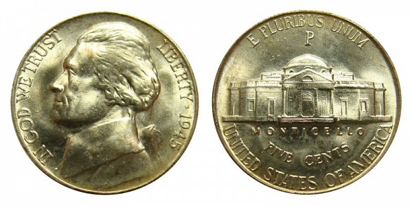 1945 P Wartime Jefferson Nickel - Silver War Nickel