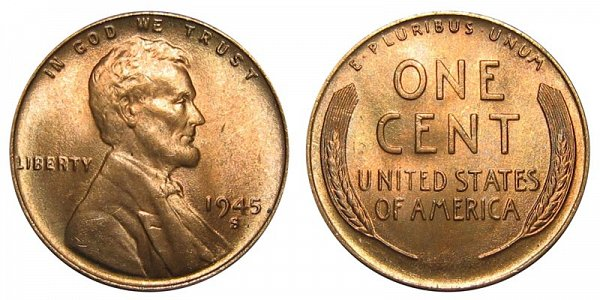 1945 S Lincoln Wheat Cent Penny