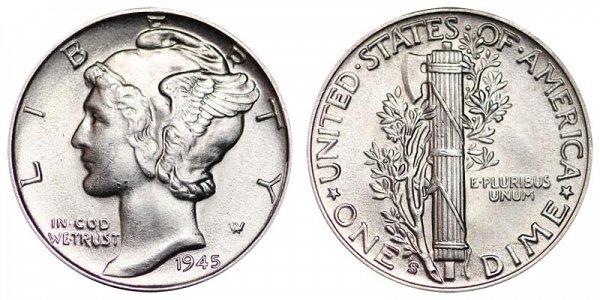 1945 S Mercury Silver Dime Coin Value Prices, Photos & Info