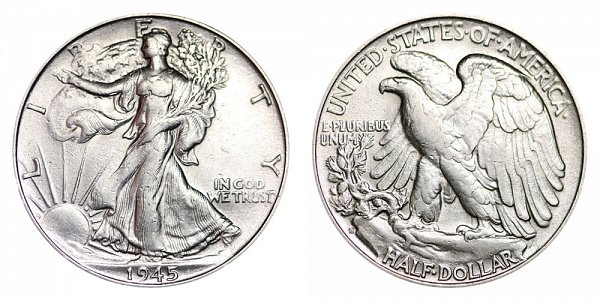 1945 S Walking Liberty Silver Half Dollar