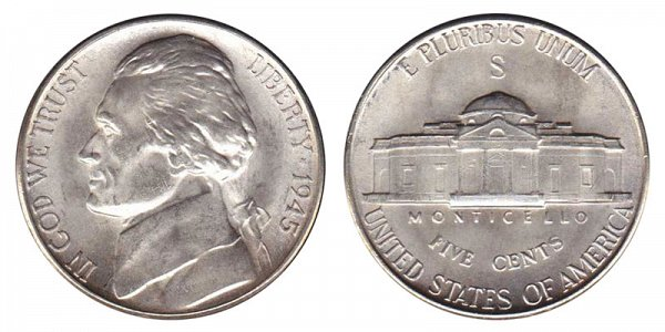 1945 S Wartime Jefferson Nickel - Silver War Nickel