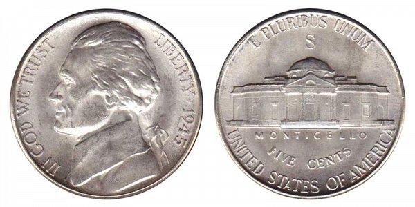 1945 S Wartime Jefferson Nickel - Silver War Nickel
