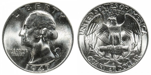 1947 D Washington Silver Quarter