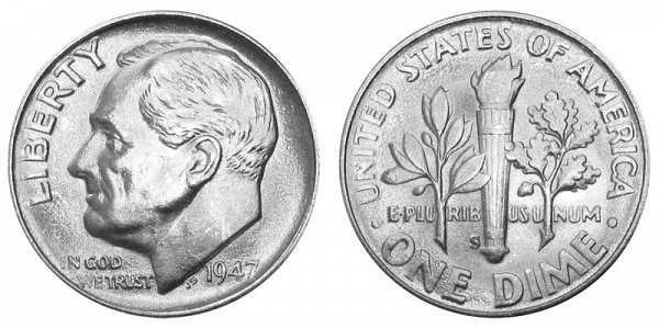 1947 S Silver Roosevelt Dime