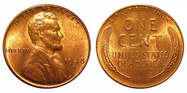 1948 S Lincoln Wheat Cent Penny