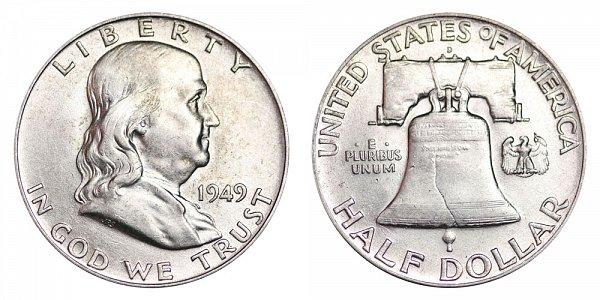 1949 D Franklin Silver Half Dollar