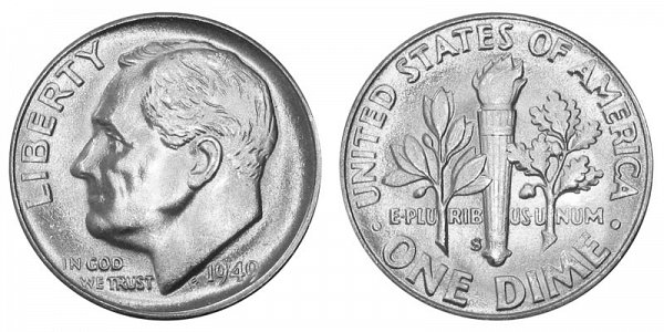 1949 S Silver Roosevelt Dime