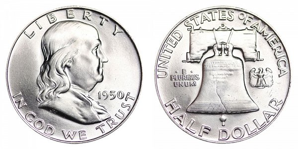 1950 D Franklin Silver Half Dollar