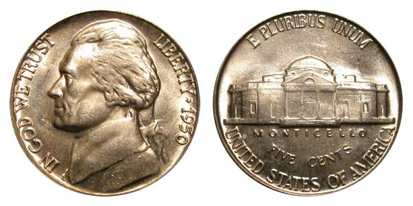1950 Jefferson Nickel