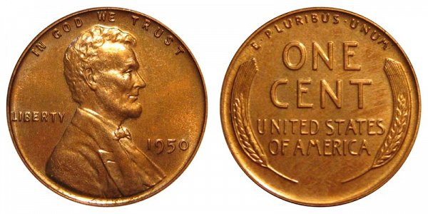 1950 Lincoln Wheat Cent Penny