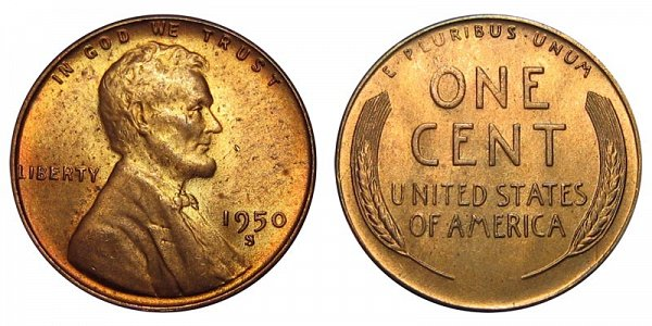 1950 S Lincoln Wheat Cent Penny