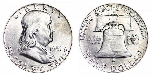 1951 D Franklin Silver Half Dollar