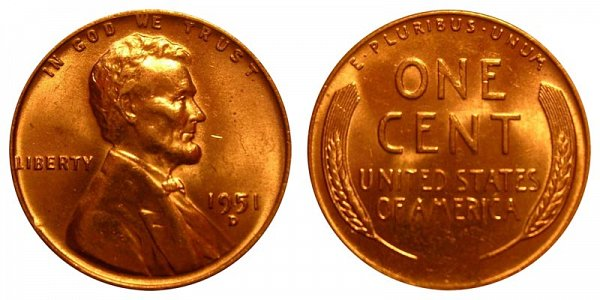 1951 D Lincoln Wheat Cent Penny