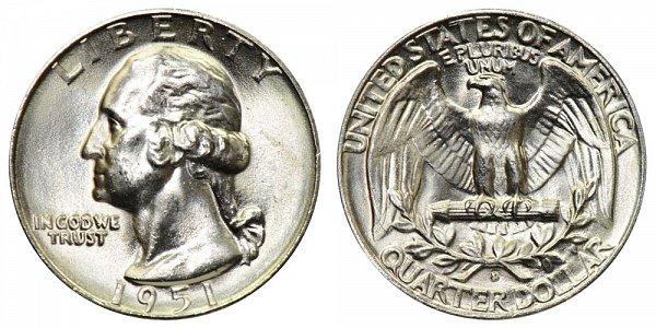 1951 D Washington Silver Quarter