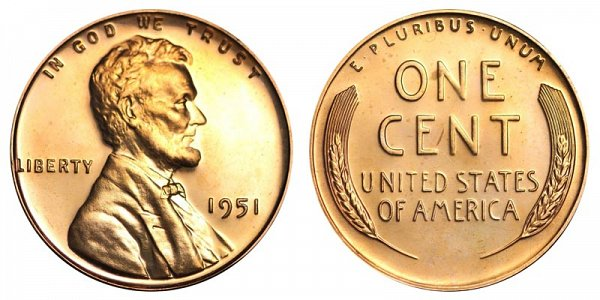 1951 Lincoln Wheat Cent Penny