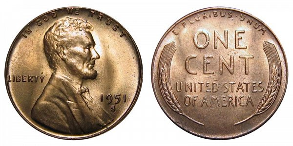 1951 S Lincoln Wheat Cent Penny