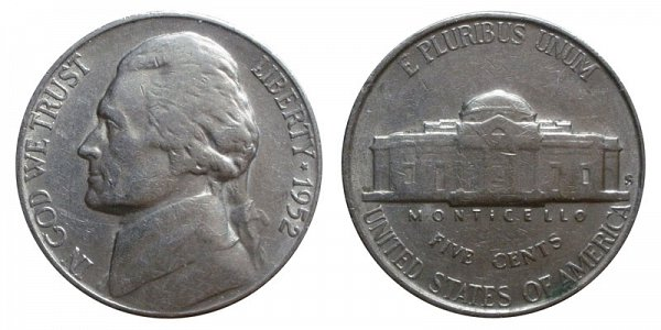 1952 S Jefferson Nickel