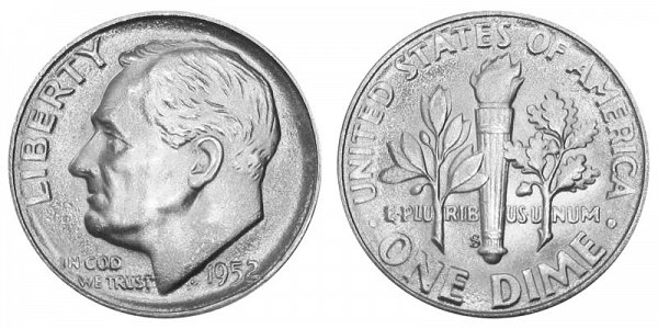 1952 S Silver Roosevelt Dime