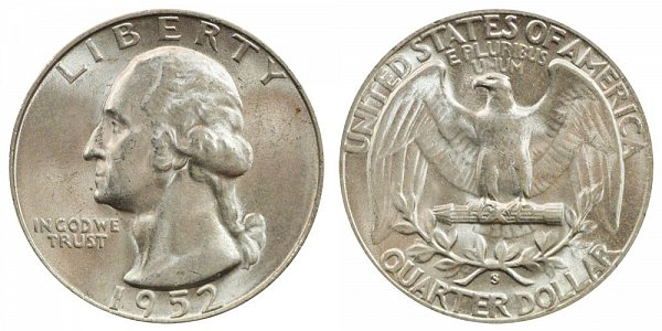 1952 S Washington Silver Quarter
