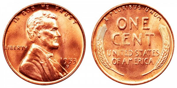 1953 D Lincoln Wheat Cent Penny