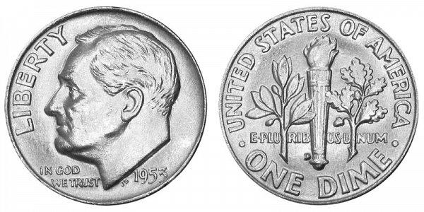 1953 D Silver Roosevelt Dime