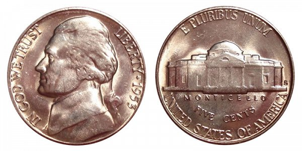 1953 S Jefferson Nickel