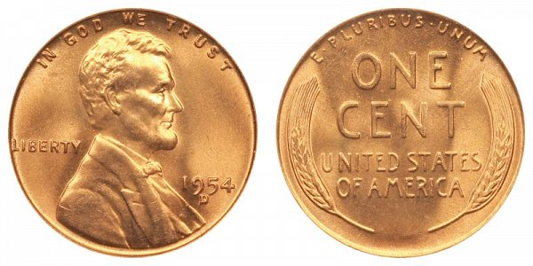 1954 D Lincoln Wheat Cent Penny