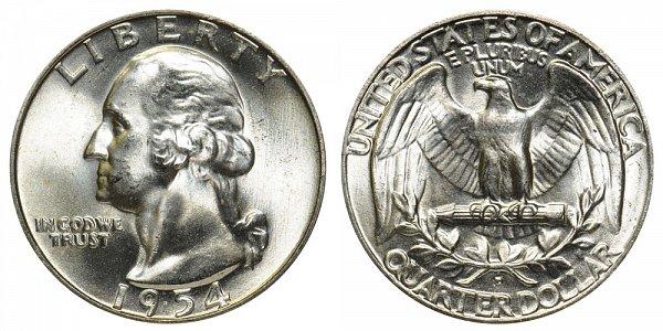 1954 D Washington Silver Quarter