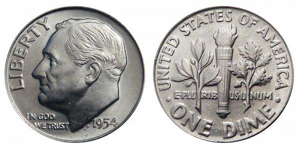 1954 Silver Roosevelt Dime