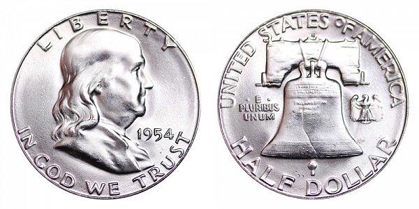 1954 S Franklin Silver Half Dollar