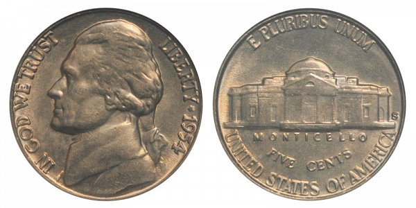 1954 S Jefferson Nickel