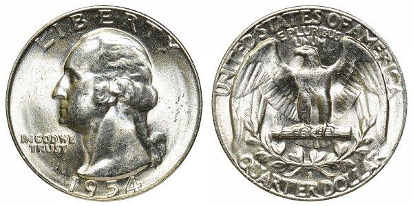 1954 S Washington Silver Quarter