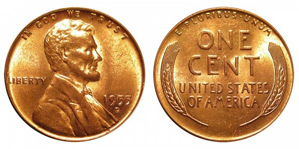 1955 D Lincoln Wheat Cent Penny