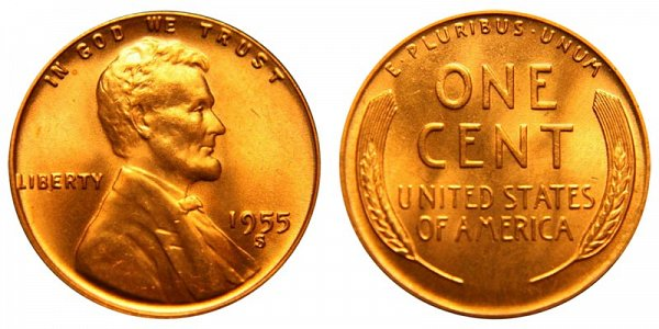 1955 S Lincoln Wheat Cent Penny