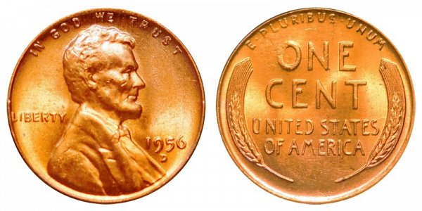 1956 D Lincoln Wheat Cent Penny