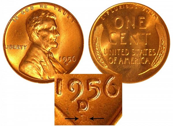 1956 D Over Shadow D (D/D RPM) Lincoln Wheat Cent Penny Error