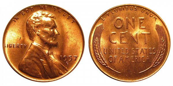 1957 D Lincoln Wheat Cent Penny