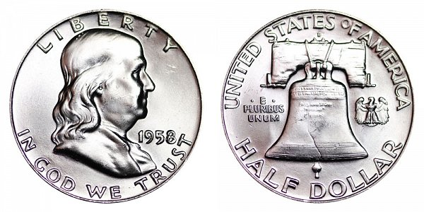 1958 D Franklin Silver Half Dollar