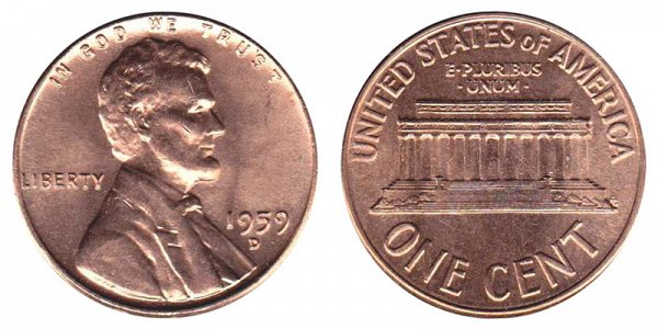 1959 D Lincoln Memorial Cent Penny