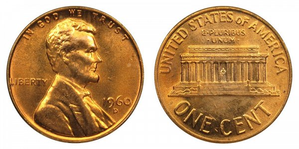 1960 D Large Date Lincoln Memorial Cent Penny