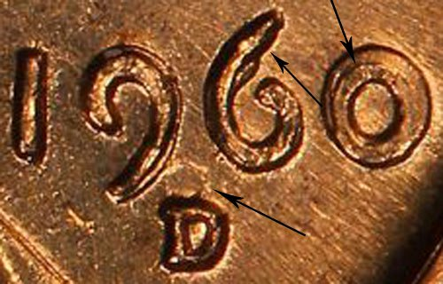 1960 D Over D D/D Small Date Over Large Date Lincoln Cent Penny