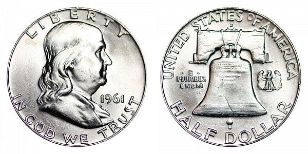 1961 D Franklin Silver Half Dollar