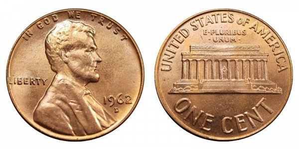 1962 D Lincoln Memorial Cent Penny
