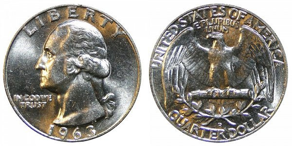 1963 D Washington Silver Quarter