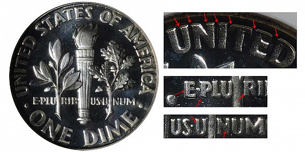 1963 Doubled Die Reverse DDR Silver Roosevelt Dime