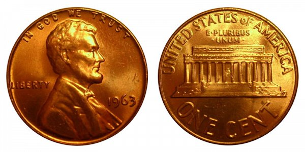 1963 Lincoln Memorial Cent Penny