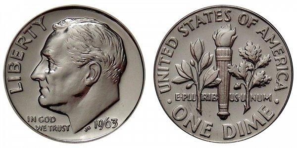 1963 Silver Roosevelt Dime