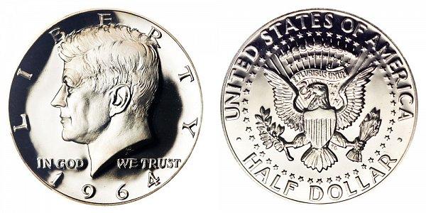 1964 Silver Kennedy Half Dollar - Accented Hair