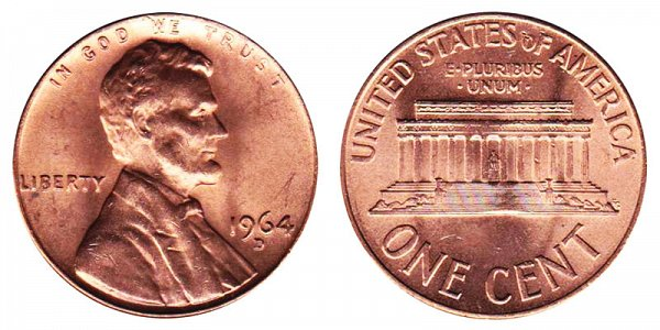 1964 D Lincoln Memorial Cent Penny