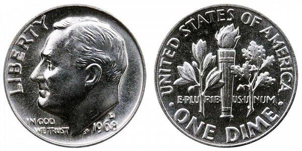 1968 D Roosevelt Dime